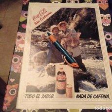 Coleccionismo de Coca-Cola y Pepsi: ANTIGUO DOBLE ANUNCIO PUBLICIDAD PARA ENMARCAR COCA COLA SIN CAFEINA TRASERA ASPIRINA BAYER. Lote 119985107