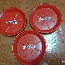 Coleccionismo de Coca-Cola y Pepsi: LOTE DE TRES PLATO PARA MACETAS PLANTAS DE COCA COLA . Lote 121429955