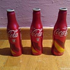 Coleccionismo de Coca-Cola y Pepsi: LOTE DE 3 BOTELLAS COCA COLA EURO 2016 FRANCE. ESPAÑA. Lote 122609951