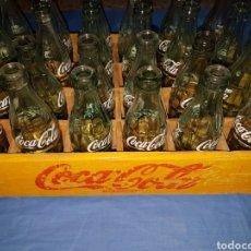 Coleccionismo de Coca-Cola y Pepsi: CAJA MADERA BOTELLAS COCA COLA AMARILLA. Lote 124142132