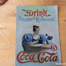 Coleccionismo de Coca-Cola y Pepsi: PRECIOSA PLACA METÁLICA PUBLICIDAD VINTAGE COCA COLA. Lote 125230815