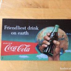 Coleccionismo de Coca-Cola y Pepsi: PRECIOSA PLACA METÁLICA PUBLICIDAD VINTAGE COCA COLA. Lote 125231283