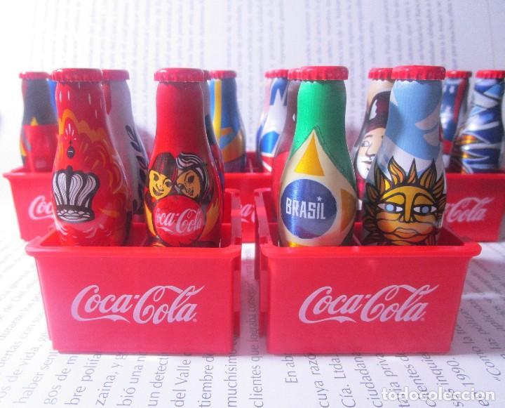 Coleccionismo de Coca-Cola y Pepsi: 20 BOTELLAS BOTELLITAS COCA COLA MUNDIAL 2014 BOTELLA ALUMINIO 7.5CM ALTO CON 5 CAJON CAJONES - Foto 2 - 126649731