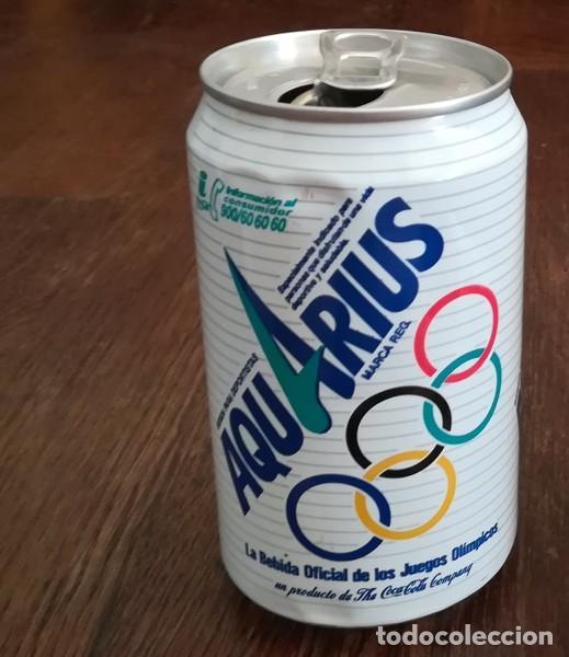LATA REFRESCO AQUARIUS BEBIDA OFICIAL JUEGOS OLIMPICOS. BOTE CAN COCA-COLA COMPANY (Coleccionismo - Botellas y Bebidas - Coca-Cola y Pepsi)