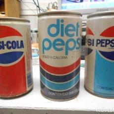 Coleccionismo de Coca-Cola y Pepsi: LOTE 3 LATA PEPSI-COLA VACIAS. Lote 127659711