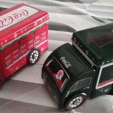 Coleccionismo de Coca-Cola y Pepsi: LOTE 2 CAMIONES CON CAJA DE CHAPA DE COCACOLA COKE COCA COLA . Lote 130604858
