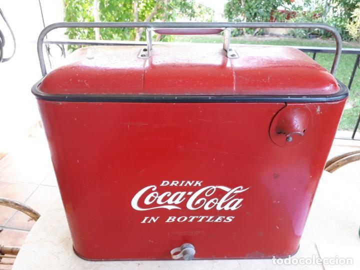 ANTIGUA NEVERA COCA-COLA AMERICANA DE HIELO PIC NIC. ORIGNAL AÑOS 40S. LOUISVILLE NEW YORK, USA. (Coleccionismo - Botellas y Bebidas - Coca-Cola y Pepsi)