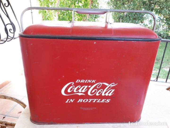 Coleccionismo de Coca-Cola y Pepsi: Antigua Nevera Coca-Cola Americana de Hielo Pic Nic. Orignal años 40s. Louisville New York, USA. - Foto 3 - 130779036