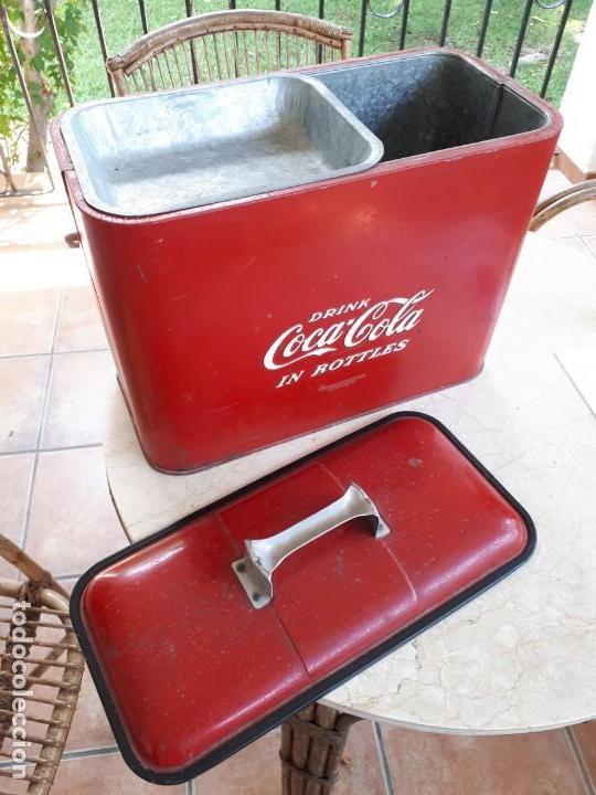 Coleccionismo de Coca-Cola y Pepsi: Antigua Nevera Coca-Cola Americana de Hielo Pic Nic. Orignal años 40s. Louisville New York, USA. - Foto 7 - 130779036