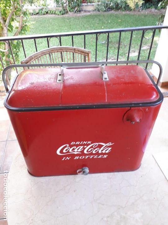 Coleccionismo de Coca-Cola y Pepsi: Antigua Nevera Coca-Cola Americana de Hielo Pic Nic. Orignal años 40s. Louisville New York, USA. - Foto 11 - 130779036