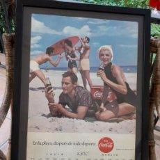 Coleccionismo de Coca-Cola y Pepsi: 1960 COCA-COLA. CALENDARIO DE PARED JULIO AGOSTO. ESPAÑOL. ORIGINAL. PLAYA. SEIX BARRAL.. Lote 130793108