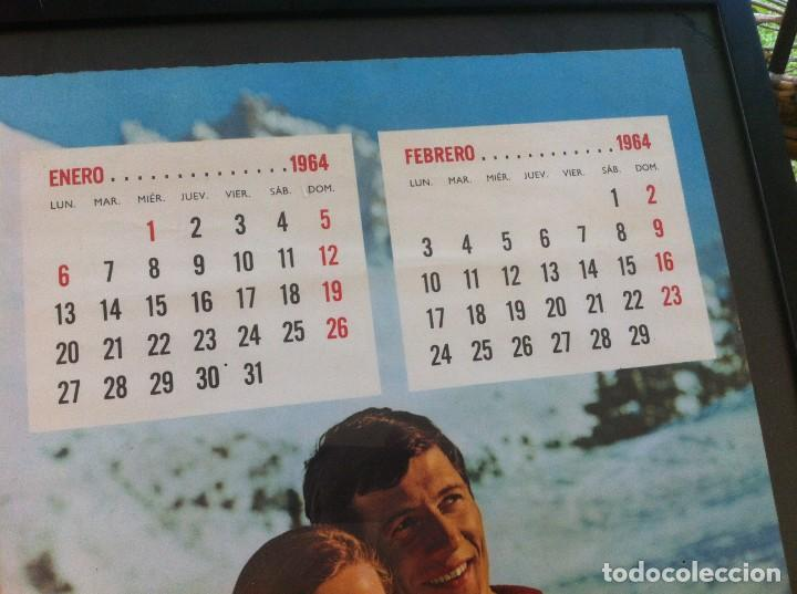 Coleccionismo de Coca-Cola y Pepsi: 1964 Coca-Cola. Calendario Enero Febrero. Nieve. Impreso por Seix Barral. Enmarcado. Original. - Foto 2 - 130827316