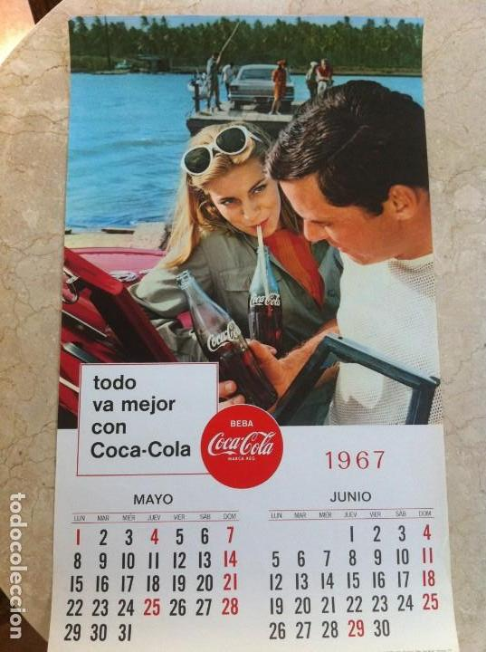 1967 COCA-COLA. CALENDARIO MAYO JUNIO. IMPRESO POR SEIX BARRAL EN 1966. TODO VA MEJOR CON COCA-COLA. (Coleccionismo - Botellas y Bebidas - Coca-Cola y Pepsi)