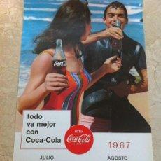 Coleccionismo de Coca-Cola y Pepsi: 1967 COCA-COLA. CALENDARIO JULIO AGOSTO. IMPRESO POR SEIX BARRAL. ORIGINAL.. Lote 130827724