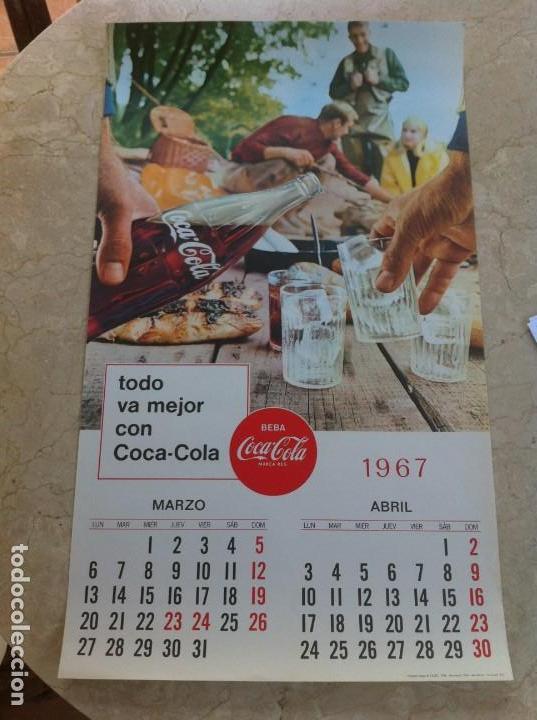 1967 COCA-COLA. CALENDARIO MARZO ABRIL. IMPRESO POR SEIX BARRAL. ORIGINAL. (Coleccionismo - Botellas y Bebidas - Coca-Cola y Pepsi)