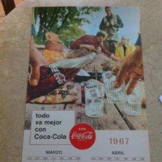 Coleccionismo de Coca-Cola y Pepsi: 1967 COCA-COLA. CALENDARIO MARZO ABRIL. IMPRESO POR SEIX BARRAL. ORIGINAL.. Lote 130827992