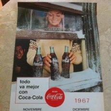 Coleccionismo de Coca-Cola y Pepsi: 1967 COCA-COLA. CALENDARIO NOVIEMBRE DICIEMBRE. IMPRESO POR SEIX BARRAL. ORIGINAL. Lote 130828144