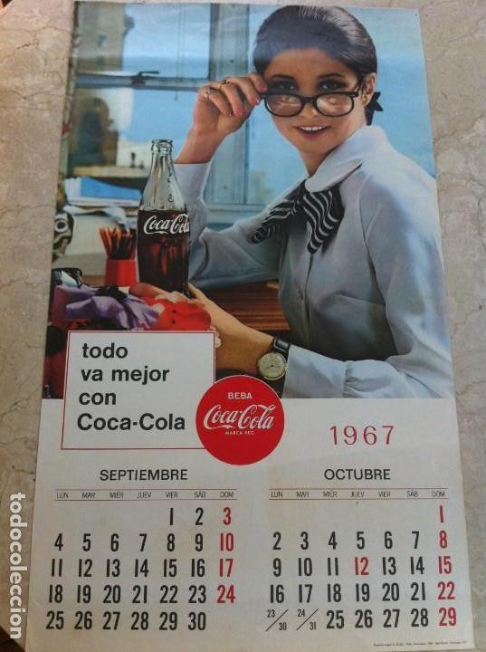 1967 COCA-COLA. CALENDARIO SEPTIEMBRE OCTUBRE. IMPRESO POR SEIX BARRAL. ORIGINAL (Coleccionismo - Botellas y Bebidas - Coca-Cola y Pepsi)