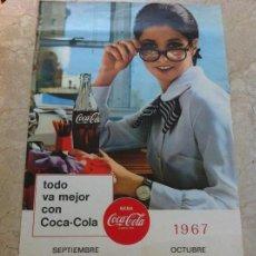 Coleccionismo de Coca-Cola y Pepsi: 1967 COCA-COLA. CALENDARIO SEPTIEMBRE OCTUBRE. IMPRESO POR SEIX BARRAL. ORIGINAL. Lote 130828300