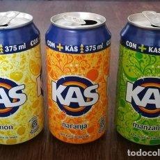 Coleccionismo de Coca-Cola y Pepsi: LOTE 3 LATAS KAS LIMON NARANJA Y MANZANA 0,375 L. BOTE CAN CON + KAS. Lote 131080776