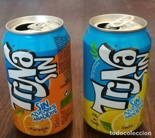 LOTE 2 LATAS TRINA LIMON Y NARANJA 0,33 L. BOTE CAN TRINARANJUS SIN AZUCARES AÑADIDOS (Coleccionismo - Botellas y Bebidas - Coca-Cola y Pepsi)