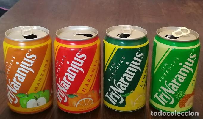 LOTE 4 LATAS TRINA MANZANA LIMON NARANJA PIÑA 0,33 L. BOTE CAN TRINARANJUS (Coleccionismo - Botellas y Bebidas - Coca-Cola y Pepsi)