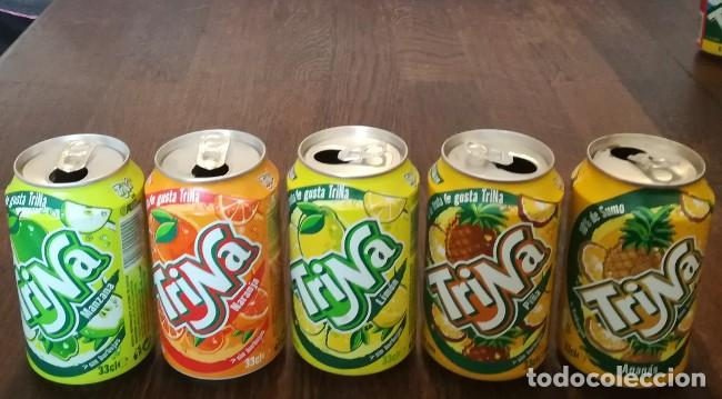 Coleccionismo de Coca-Cola y Pepsi: LOTE 5 LATAS TRINA MANZANA LIMON NARANJA PIÑA 0,33 L. BOTE CAN TRINARANJUS - Foto 2 - 131081444