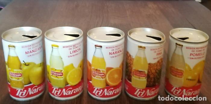 LOTE 5 LATAS TRINA MANZANA LIMON NARANJA PIÑA POMELO 0,33 L. BOTE CAN TRINARANJUS LATERAL SOLDADO (Coleccionismo - Botellas y Bebidas - Coca-Cola y Pepsi)