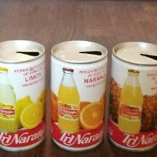 Coleccionismo de Coca-Cola y Pepsi: LOTE 5 LATAS TRINA MANZANA LIMON NARANJA PIÑA POMELO 0,33 L. BOTE CAN TRINARANJUS LATERAL SOLDADO. Lote 131081488