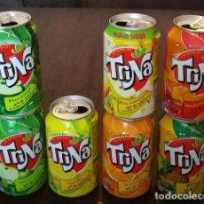 Coleccionismo de Coca-Cola y Pepsi: LOTE 7 LATAS TRINA MANZANA LIMON NARANJA PERA MANDARINA 0,33 L. BOTE CAN TRINARANJUS . Lote 131081548