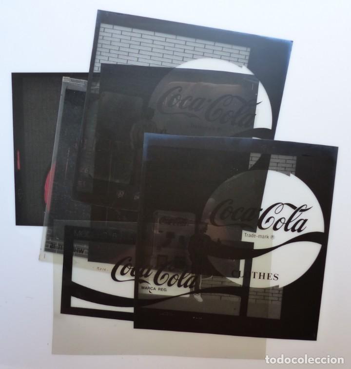 COCA-COLA 9 CLICHES NEGATIVOS ORGINALES PROCEDENTES DE LA IMPRENTA ORTEGA EN VALENCIA, AÑOS 1960-70 (Coleccionismo - Botellas y Bebidas - Coca-Cola y Pepsi)