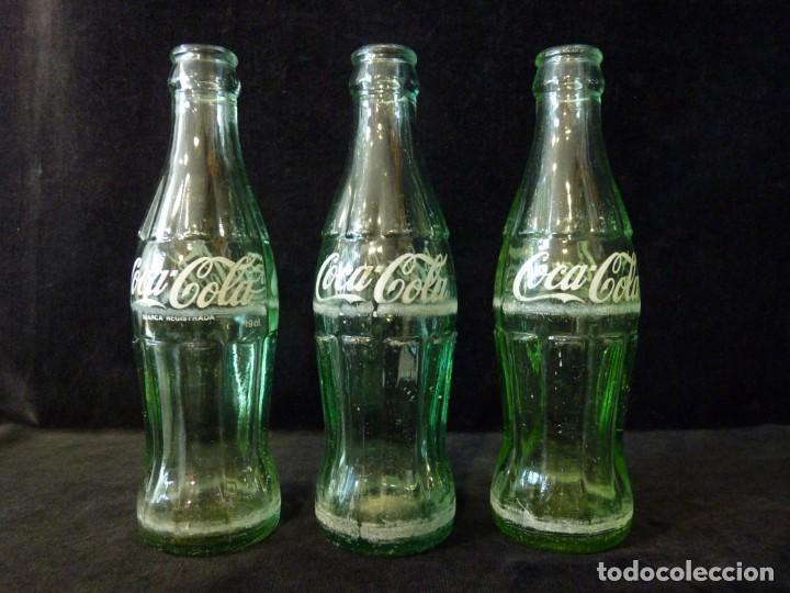 LOTE DE 3 BOTELLINES CRISTAL DE COCA COLA SERIGRAFIADOS. 19 CL. BOTELLA COCACOLA (Coleccionismo - Botellas y Bebidas - Coca-Cola y Pepsi)