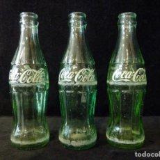 Coleccionismo de Coca-Cola y Pepsi: LOTE DE 3 BOTELLINES CRISTAL DE COCA COLA SERIGRAFIADOS. 19 CL. BOTELLA COCACOLA. Lote 133993042