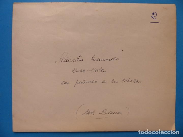 Coleccionismo de Coca-Cola y Pepsi: SEÑORITA TOMANDO COCA-COLA - CLICHE POSITIVO A COLOR EN CELULOIDE DE LA LITOGRAFIA ORTEGA -AÑOS 1950 - Foto 2 - 134190442