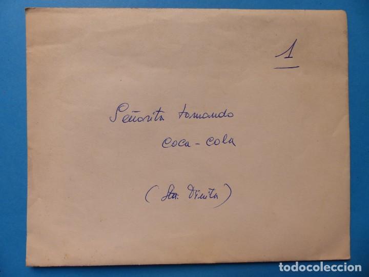 Coleccionismo de Coca-Cola y Pepsi: SEÑORITA TOMANDO COCA-COLA - CLICHE POSITIVO A COLOR EN CELULOIDE DE LA LITOGRAFIA ORTEGA -AÑOS 1950 - Foto 2 - 134190810