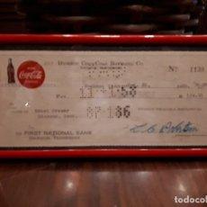 Coleccionismo de Coca-Cola y Pepsi: ANTIGUO CHEQUE COCA-COLA. FIRST NATIONAL BANK. DICKSON COCA-COLA BOTTLING CO. ORIGINAL DE 1958. Lote 118067099