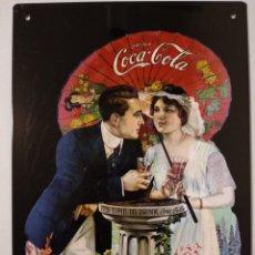 Coleccionismo de Coca-Cola y Pepsi: CHAPA PLACA CARTEL PUBLICIDAD DE COCA COLA REPRODUCCIÓN DE ANTIGUA PUBLICIDAD. Lote 139810594