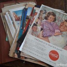 Coleccionismo de Coca-Cola y Pepsi: CARPETA CON ANUNCIOS Y DOCUMENTOS DE COCA-COLA ANTIGUOS ENTRE 1950S A 1990S. ORIGINALES. Lote 142941846