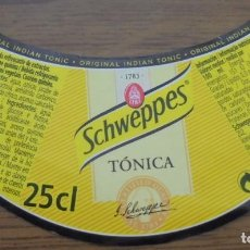 Coleccionismo de Coca-Cola y Pepsi: ETIQUETA REFRESCO SCHWEPPES TONICA 25CL. . Lote 147942594