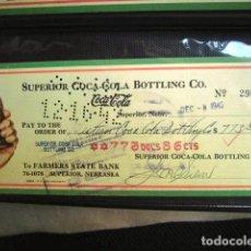 Coleccionismo de Coca-Cola y Pepsi: COCA COLA BEBIDA REFRESCO TALON CHEQUE ORIGINAL USA ESTADOS UNIDOS AÑOS 30 FABRICA COLA. Lote 149180378