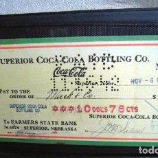 Collectionnisme de Coca-Cola et Pepsi: COCA COLA BEBIDA REFRESCO TALON CHEQUE ORIGINAL USA ESTADOS UNIDOS AÑOS 30 FABRICA COLA. Lote 149181790