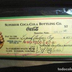 Coleccionismo de Coca-Cola y Pepsi: COCA COLA BEBIDA REFRESCO TALON CHEQUE ORIGINAL USA ESTADOS UNIDOS AÑOS 30 FABRICA COLA. Lote 149181822