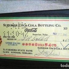 Coleccionismo de Coca-Cola y Pepsi: COCA COLA BEBIDA REFRESCO TALON CHEQUE ORIGINAL USA ESTADOS UNIDOS AÑOS 30 FABRICA COLA. Lote 149182314
