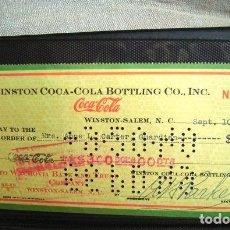Coleccionismo de Coca-Cola y Pepsi: COCA COLA BEBIDA REFRESCO TALON CHEQUE ORIGINAL USA ESTADOS UNIDOS AÑOS 30 FABRICA COLA. Lote 149182882