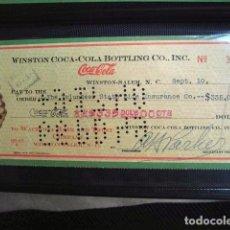 Coleccionismo de Coca-Cola y Pepsi: COCA COLA BEBIDA REFRESCO TALON CHEQUE ORIGINAL USA ESTADOS UNIDOS AÑOS 30 FABRICA COLA. Lote 149183322