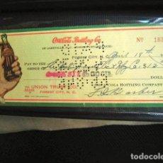Coleccionismo de Coca-Cola y Pepsi: COCA COLA BEBIDA REFRESCO TALON CHEQUE ORIGINAL USA ESTADOS UNIDOS AÑOS 30 FABRICA COLA. Lote 149184510