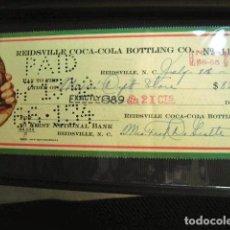 Coleccionismo de Coca-Cola y Pepsi: COCA COLA BEBIDA REFRESCO TALON CHEQUE ORIGINAL USA ESTADOS UNIDOS AÑOS 30 FABRICA COLA. Lote 149185262