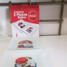 Coleccionismo de Coca-Cola y Pepsi: COCA COLA - 2 PLATOS RETRO - MEDIDA 20 X 20 CMS - DECORADOS VER FOTOS. EN SU ESTUCHE. NUEVOS. . Lote 149394446