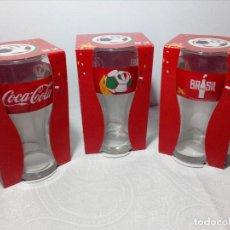 Coleccionismo de Coca-Cola y Pepsi: 3 VASOS COCA-COLA - MUNDIAL BRASIL 2014 (ITALIA) SELECCIÓN ITALIANA. Lote 180485742