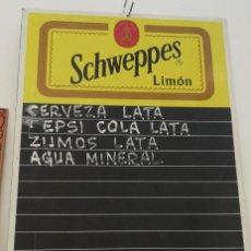 Coleccionismo de Coca-Cola y Pepsi: PIZARRA DE BAR EN CHAPA ANTIGUA PUBLICIDAD SCHWEPPES 75 CMS. DE ALTO X 50 DE LARGO . Lote 153561366